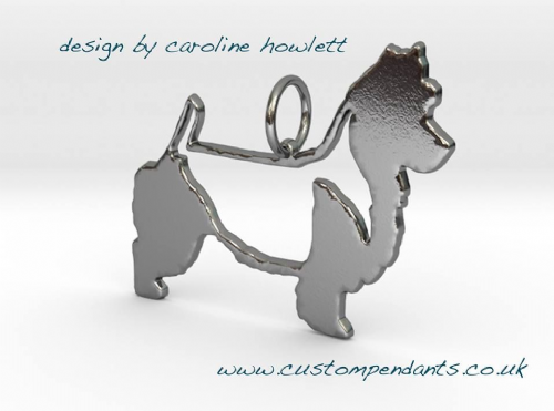 Australian Terrier with saddle cut and docked tail dog silhouette pendant sterling silver handmade by saw piercing Caroline Howlett Design